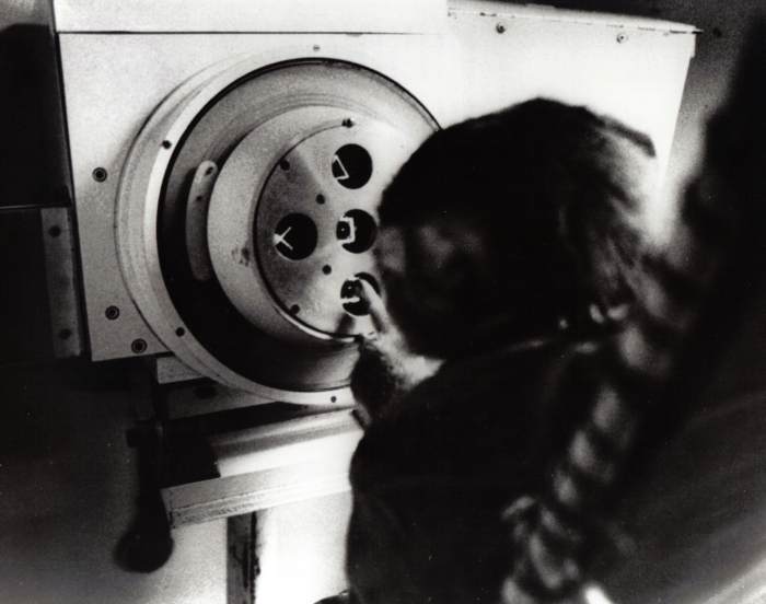A pigtail monkey at the Primate Psychomotor Test System