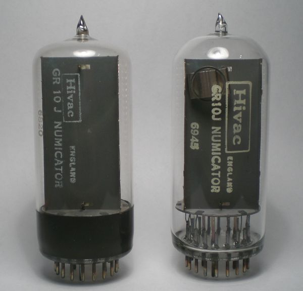 The two GR10J Nixie tubes in comparison